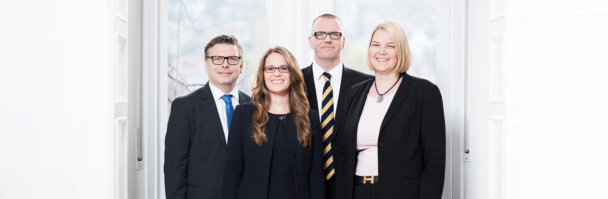Das AVANTCORE Team in Stuttgart. Von links nach rechts: Dr. Arnd Pannenbecker, Rebekka Stumpfrock, Dr. Matthias Hesshaus, Dr. Julia Blind